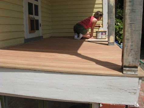 applying Flood's UV5 to mahogany porch