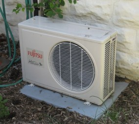 Remodeling a Bungalow :: mini split system air conditioning compressors :: One of three or four mini-split compressors
