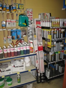 shelves at Budeke's Paints Fells Point Baltimore location