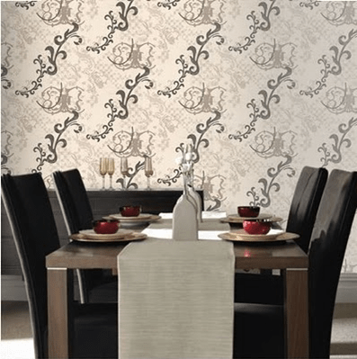 a wildly wallpaper dining room image via Paul Anater