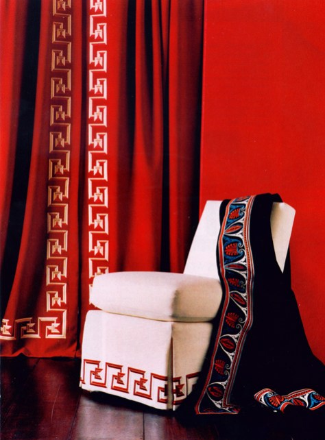 the Greek Key in Deep Red Curtains and Draped Chair image provided by Regina Garay
