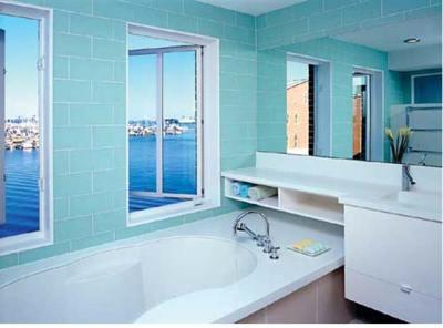 luxuary bathroom overlooking harbor