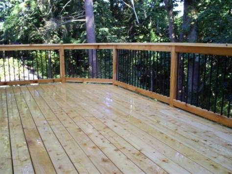 Winterize a Wood Deck :: Large cedar deck refinished image via Ricks Fencing