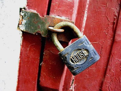 Padlock With Word house and Bright Red Door image via Marie Owens