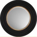 small circlular mirror black with gold piping