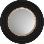 small circlular mirror black with gold piping
