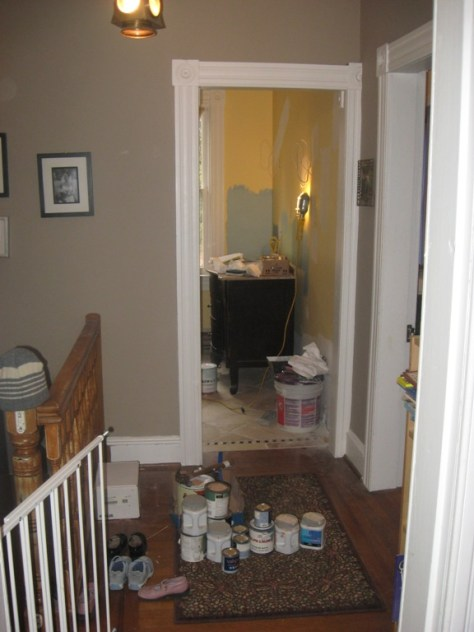 testing paint samples in new master bath