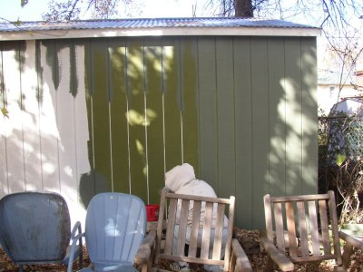 Shed Being Painted in Green