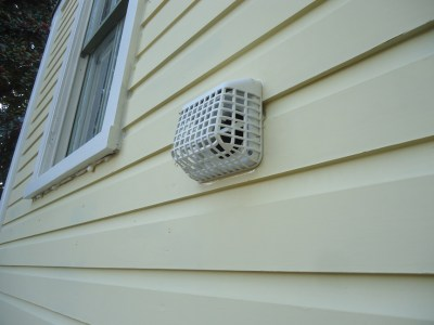 Caulk Smooth Dryer Vent Guard Installed