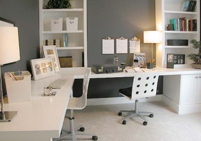 Contemporary Home Office in White image via Bethany Winston