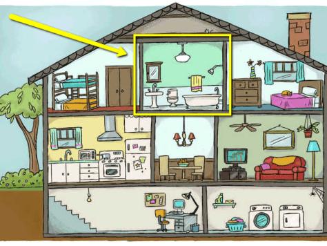 Cartoon Interior with Bathroom Highlighted image via Floors For Your Home