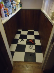 Checkerboard Vinyl Tile Straight Running Pattern Pantry