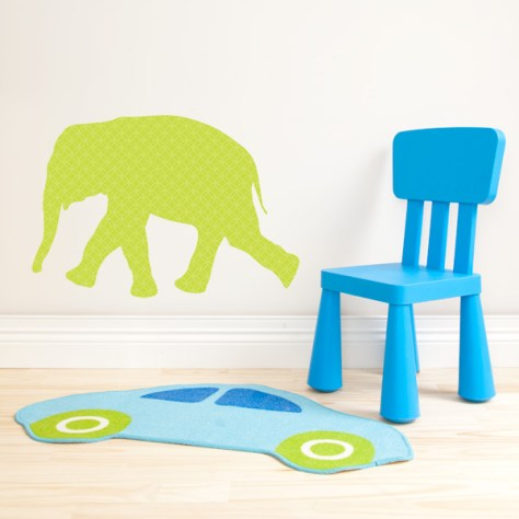 Elephant Kids Wall Decal Room with Car Rug & Blue Chair