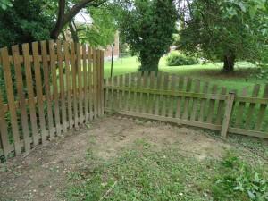 Cedar Fence Intersection Bare Rear Yard