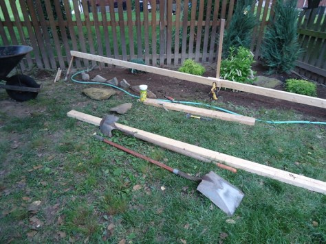 Finding Level Running String Line Garden Bed