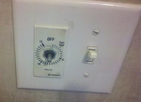removed bath fan timer knob