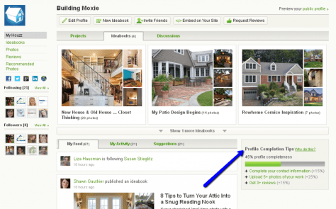 Profile Completion Tips and Profile View on Houzz