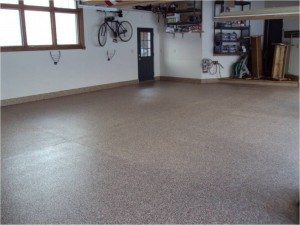 Garage Floor Coating Options :: full broadcast color chips UV stable polyurethane clear coat