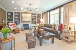 transitional living room Photo by Tommy Sheldon
