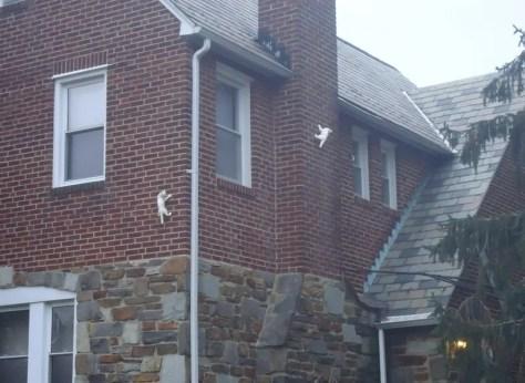 ceramic climbing cats brick and stone tudor