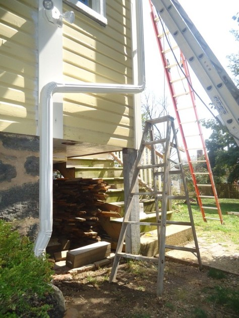 downspout routed to outlet