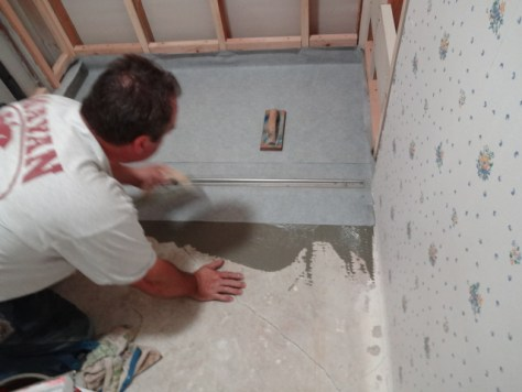 inline drain installed setting membrane