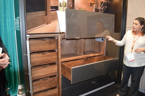 lift door split drawer walnut construction