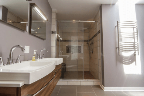 Contemporary Bath floating vanities and elevated sinks