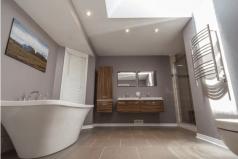 floating vanities freestanding tub towel warmer in contemporary bath