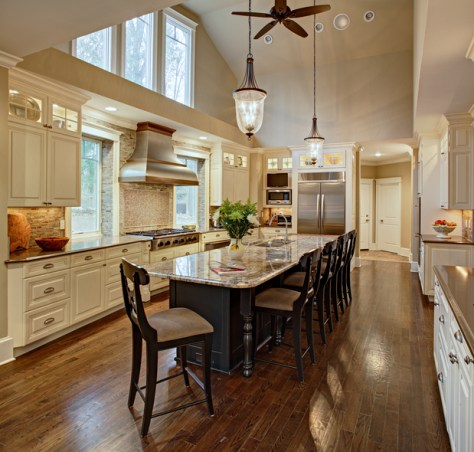large open concept transitional kitchen