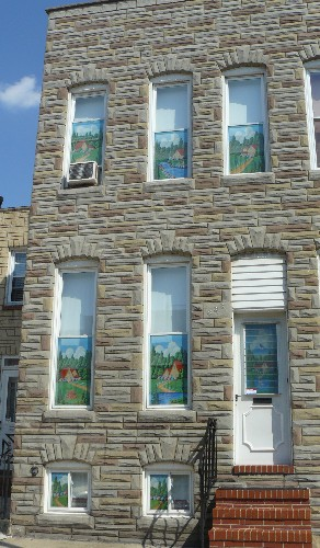 formstone rowhome with painted screens