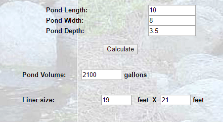 Oval Pond Liner Sizing Calculator