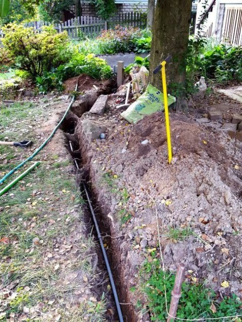 Underground Feeder Trench for Pond Electric