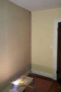 hanging wallpaper inside corner