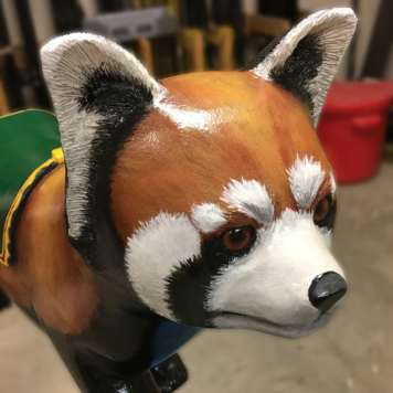 Hand Carved Red Panda Seat