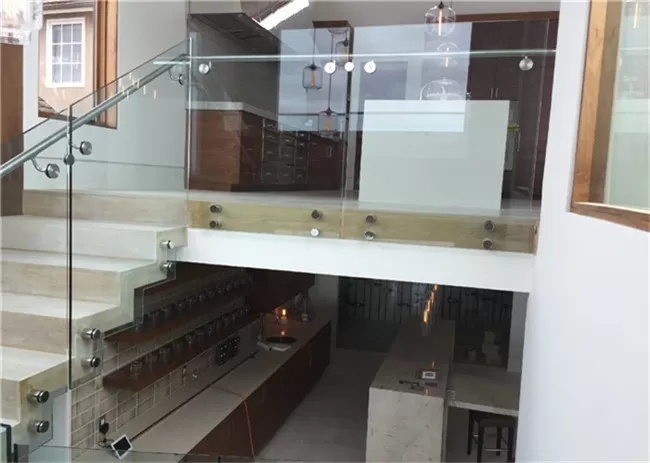 Indoor Side Mount Frameless Glass Railing Glass Stair Balustrade | Cost Of Glass Balustrade Stairs | Wood | Side Clamp | Steel Bracket | Spiral Staircase | Stainless Steel