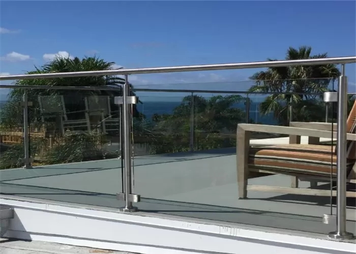 American Standard Stainless Steel Post Glass Railing For Outdoor   Glass Handrails For Balcony   Glass Guardrail   Exterior   Stainless Steel   Staircase   Veranda