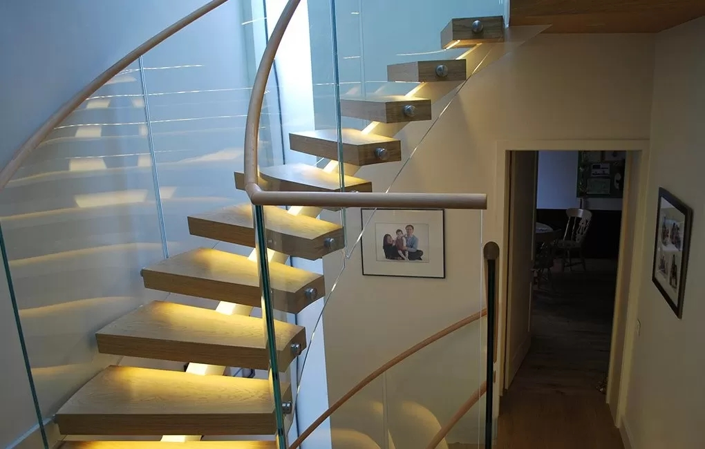 Stainless Steel Curved Glass Staircase Modern House Decoration | Wall Mounted Handrails Wood | Stair Handrail Bracket | Capozzoli Stairworks | Stair Parts | Wood Staircase Handrail | Wrought Iron