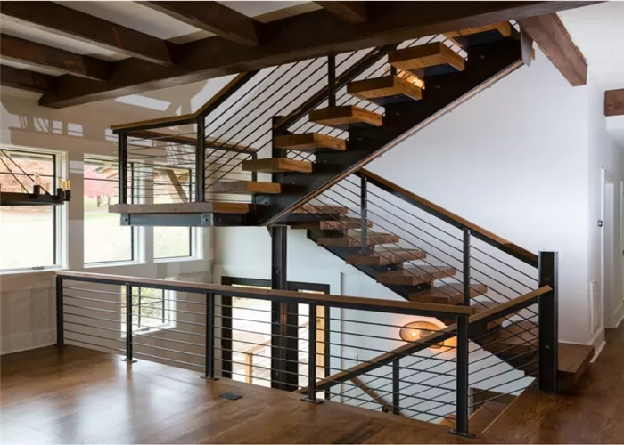 Cable Railing Steel Stringer Wood And Glass Staircase 3 Flights | Wood And Glass Banister | Grey | Before And After | Rustic Glass Interior | Concrete Stairs Wooden Glass | Acrylic