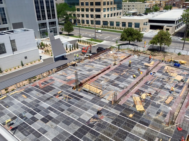 Crews are building the underground parking structure. Photo by Isaac Riddle.