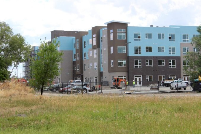 The northeast corner of the West Station Apartments. Photo by Isaac Riddle.