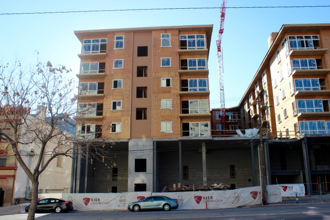 The southeast corner of the Liberty Crest Apartments. The first two floors will be townhomes. Photo by Isaac Riddle.