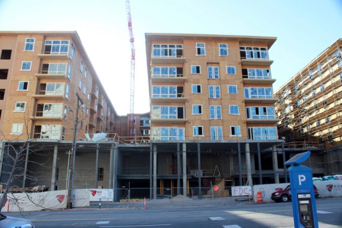 The Liberty Crest Apartments as seen from 200 South. Photo by Isaac Riddle.