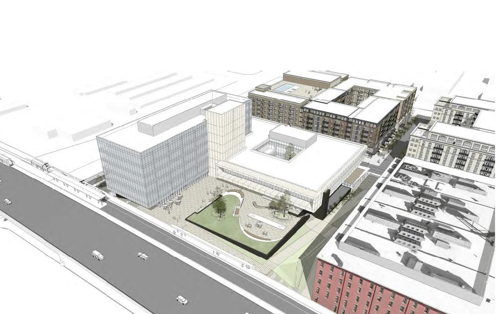 Aerial rendering of the Hardware Village