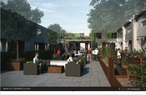The proposed courtyard terrace of the Central Ninth Lofts as designed by Axis Architects.