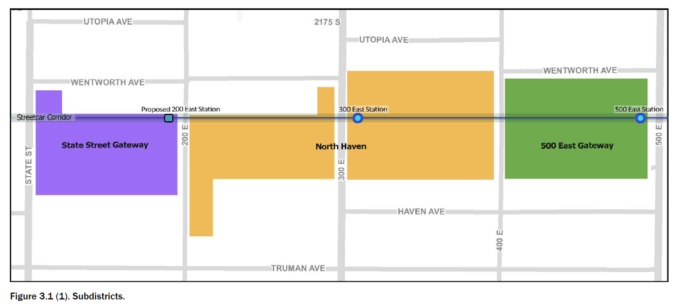Map of the parcels included in the South Salt Lake East Streetcar Corridor Form Based Code. Image courtesy South Salt Lake City.