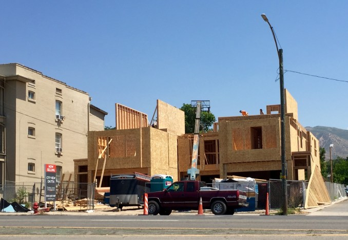 Framing is underway on the City View on 7th townhomes. Photo by Isaac Riddle.