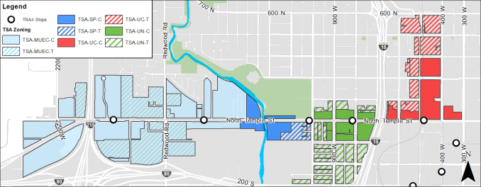 Zoning map of the TSA district on North Temple. Image courtesy Salt Lake City.