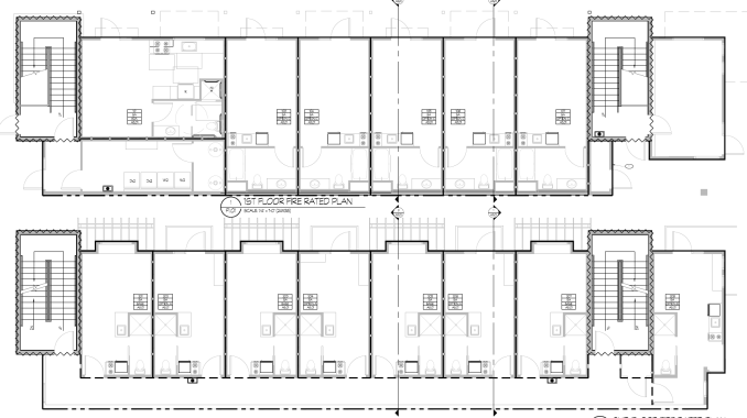 The floor plans for the first floor of the Greenprint Apartments. Image by Architecture Belgique.
