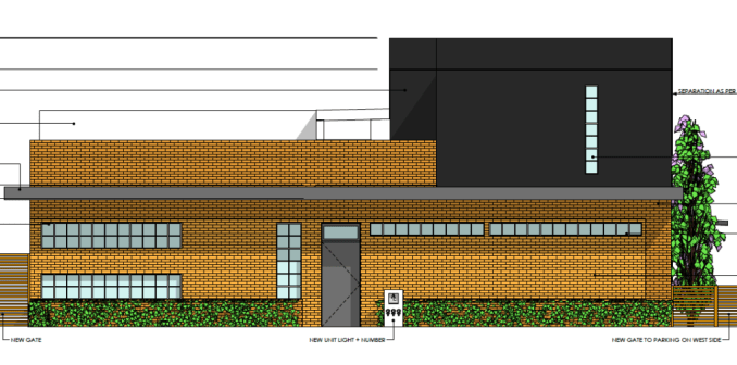 Rendering of the conversion of a one-story commercial building on 300 West to a two-unit residential building. Image courtesy Salt Lake City planning documents.